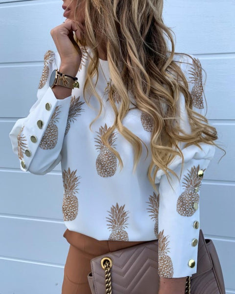 Pineapple Print Metal Buttoned Detail Casual Blouse