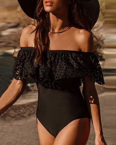Solid Off Shoulder Ruffles One Piece Swimsuit
