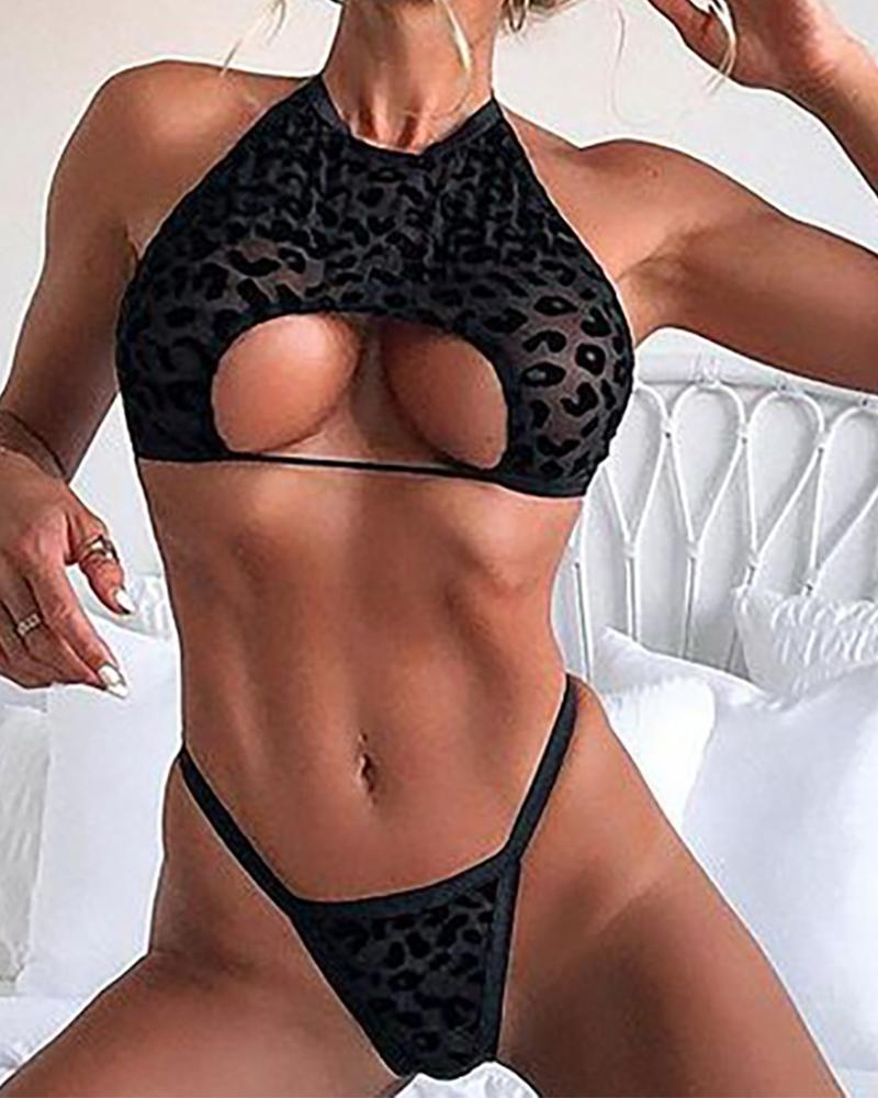 Leopard Print Splicing Cut-out Halter Lingerie Sets