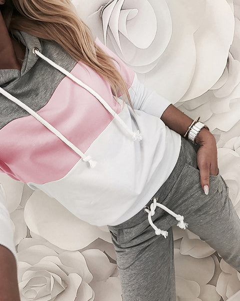 Drawstring Design Colorblock Hooded Top & Pant Sets