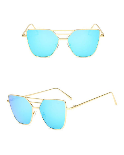 Metal Frame Irregular Lens Sunglasses