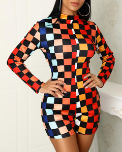 Colorful Checkboard Print Reversible Rompers