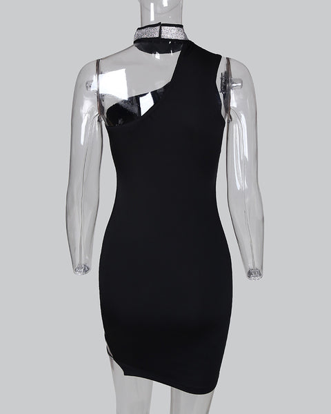 One Shoulder Glitter Ladder Cutout Bodycon Dress