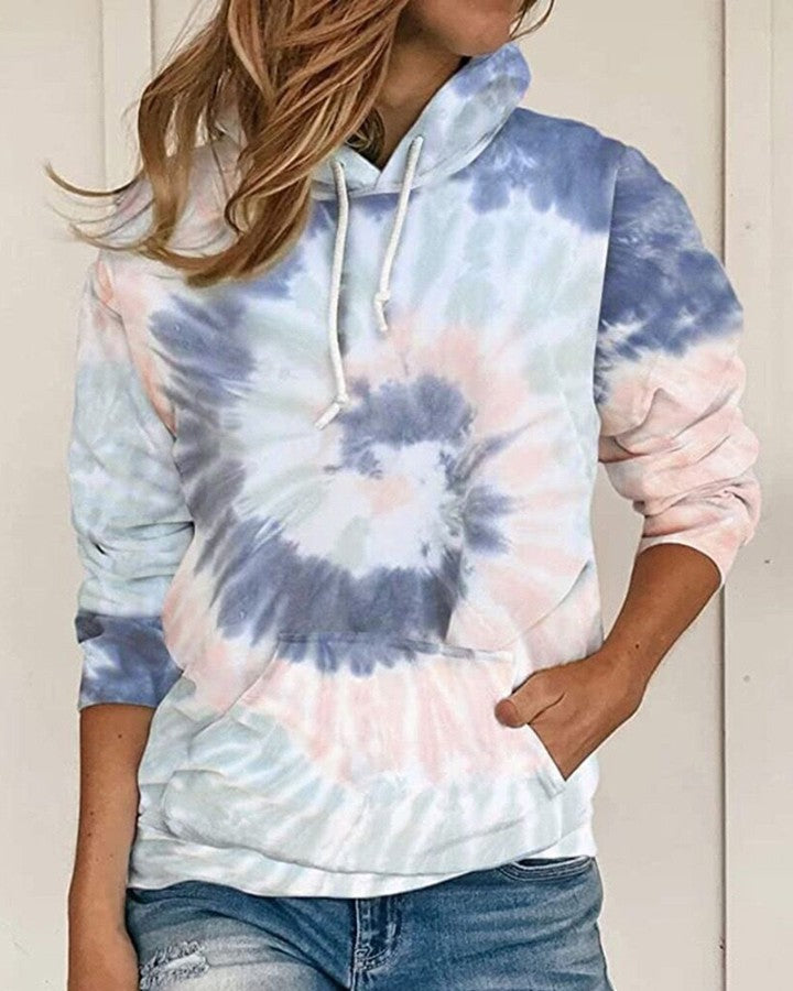 Tie Dye Print Long Sleeve Casual Hooded Top