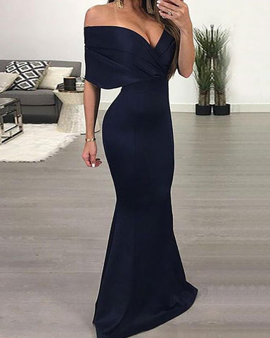 Off Shoulder V Neck Maxi Dress