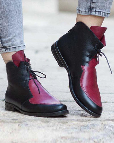 Contrast Lace-Up Ankle Boots