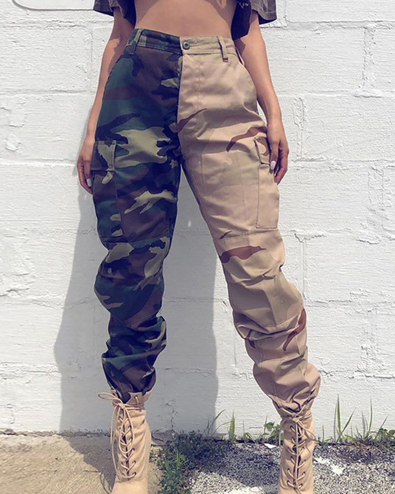 Camouflage Colorblock Pocket Design Cargo Pants