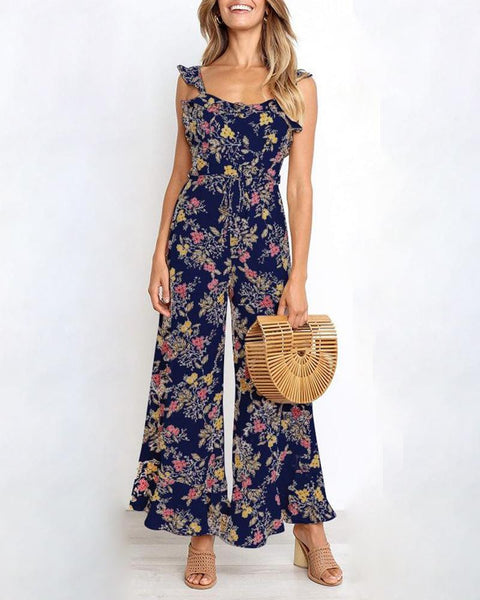 one-piece Spaghetti Strap sleeveless wide legs jumpsuit
