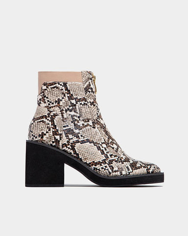 Snakeskin Pointed-toe Zipper Closure Ankle Boots
