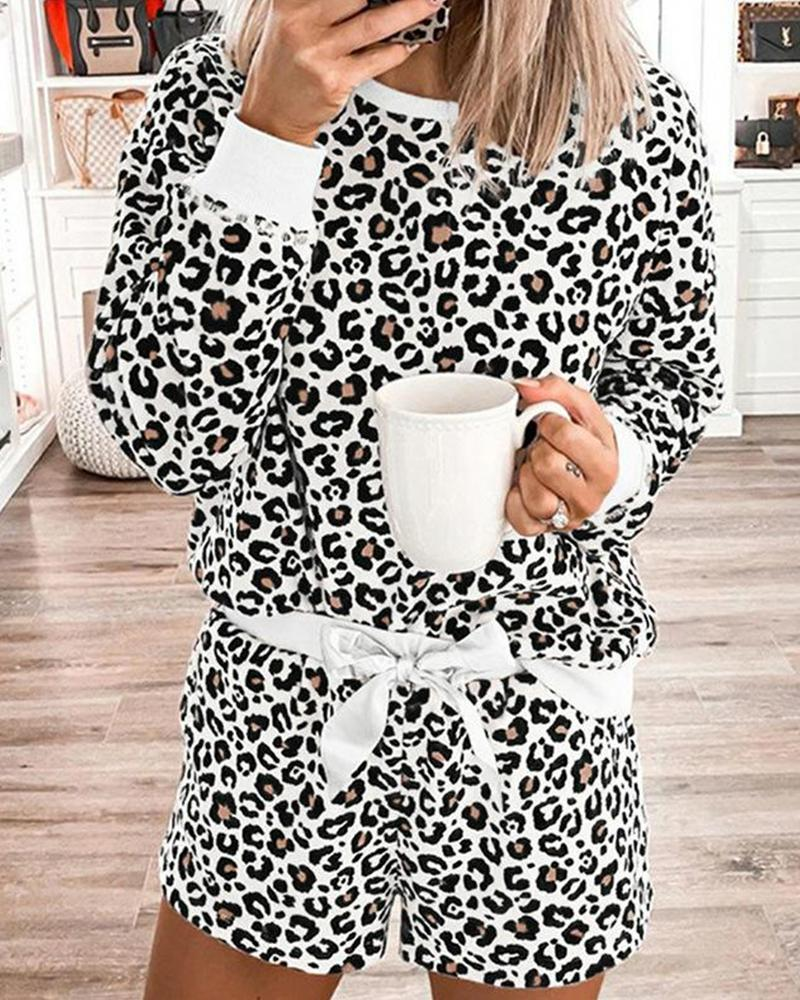 Leopard Bowknot Long Sleeve Pajamas Sets