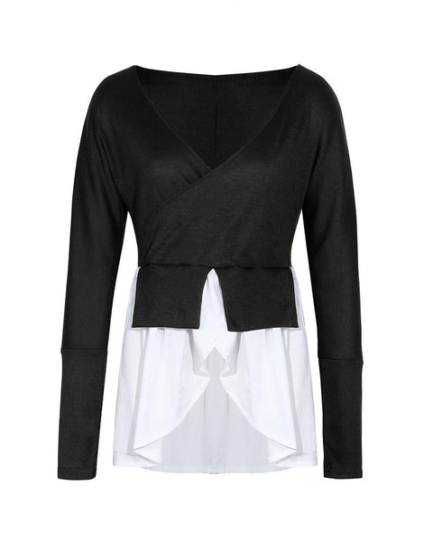 Colorblock Long Sleeve Irregular Top