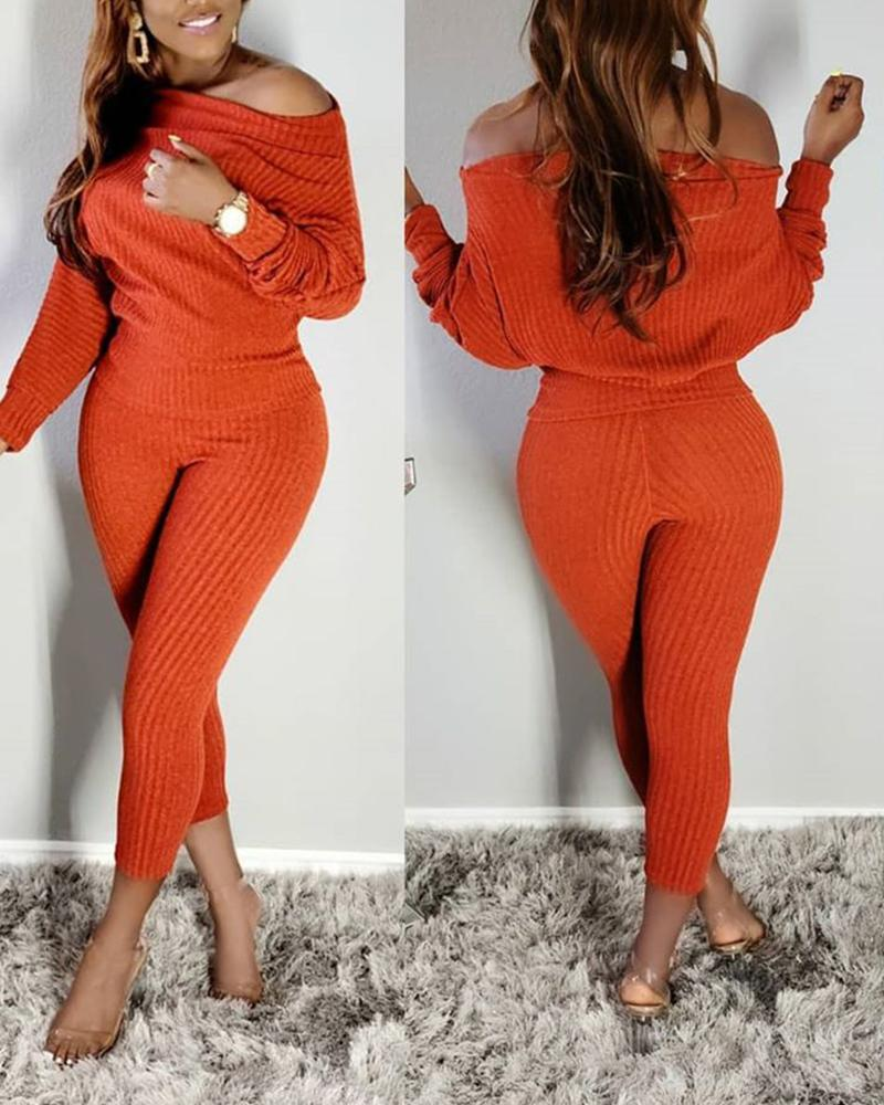 Solid Color Long Sleeve Suit Sets