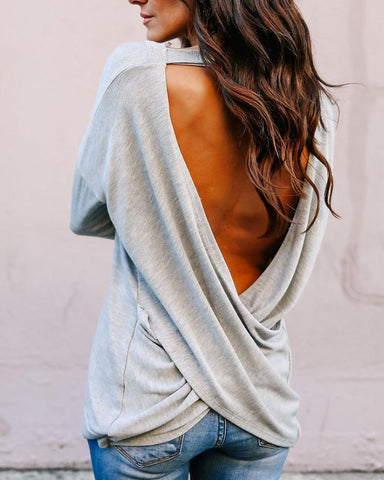 Fashion Open Back Crisscross Loose T-shirts