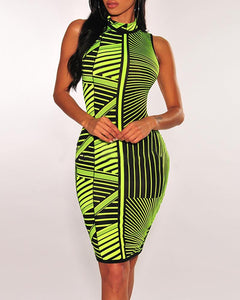 Sleeveless Colorblock Striped Bodycon Dress