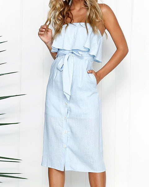 Solid Off Shoulder Ruffles Belted Dress