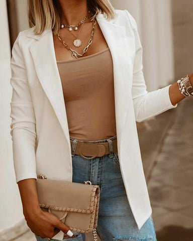 Solid Long Sleeve Casual Blazer Coat