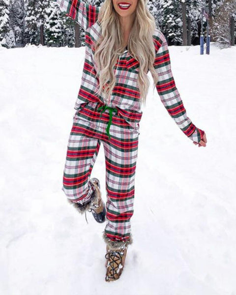 Christmas Color Plaid Long Sleeve Shirt With Pants Pajamas Sets