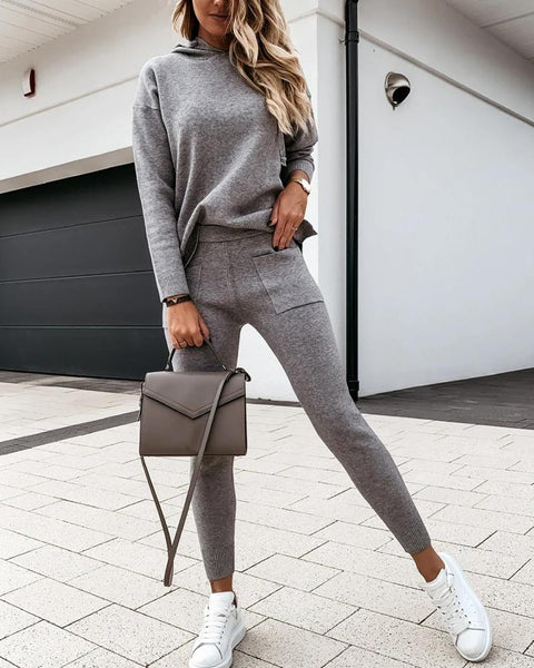 Solid Long Sleeve Sweater Suit Sets