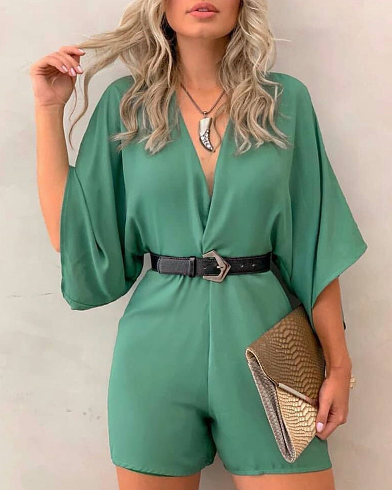 Solid V-Neck Three Quarter Sleeve Casual Romper