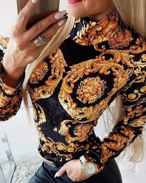 Retro Print High Neck Form Fitted Blouse