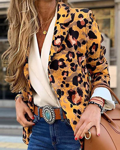 Leopard Print One-Button Blazer
