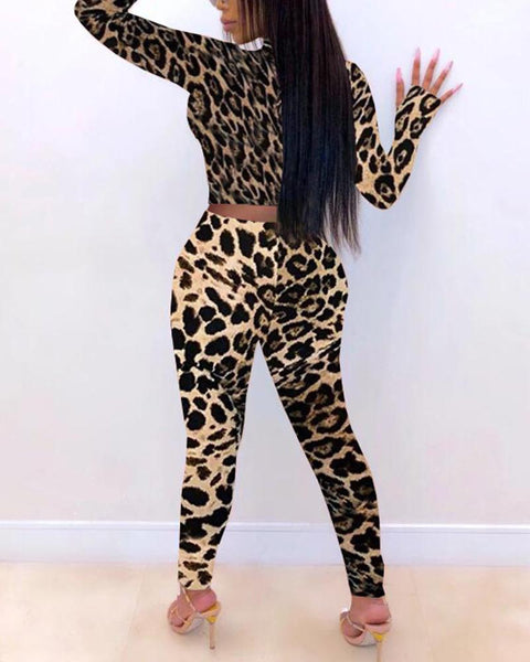 Leopard Long Sleeve Suit Sets