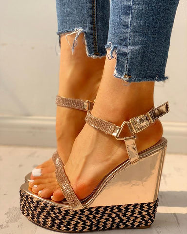 Studded Open Toe Platform Wedge Sandals