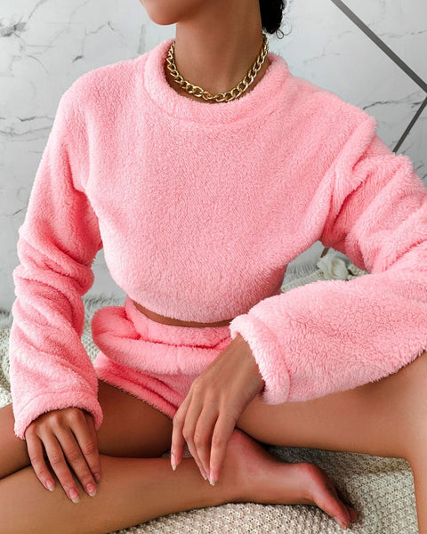 Long Sleeve Lounge Teddy Top & Shorts Set