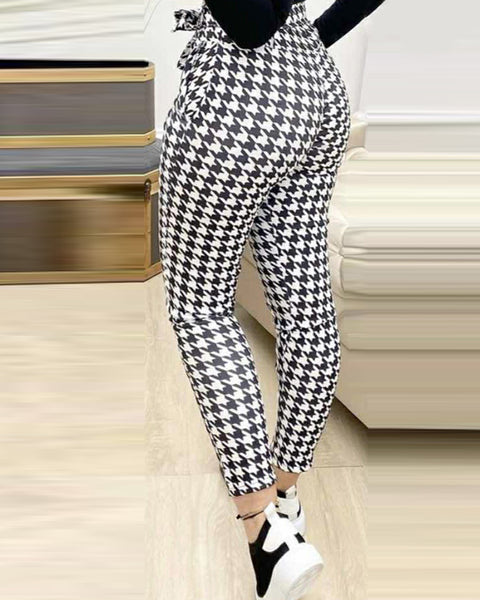 Houndstooth Tied Detail Pocket Design Casual Pants