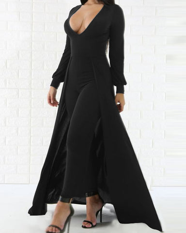 Solid Long Sleeve Skinny Waist Jumpsuit With Tailcoat