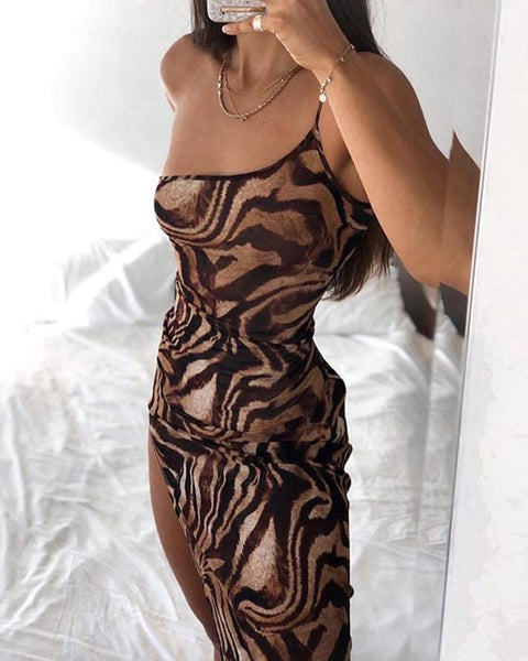 Tiger Pattern Spaghetti Strap Long Slit Dress