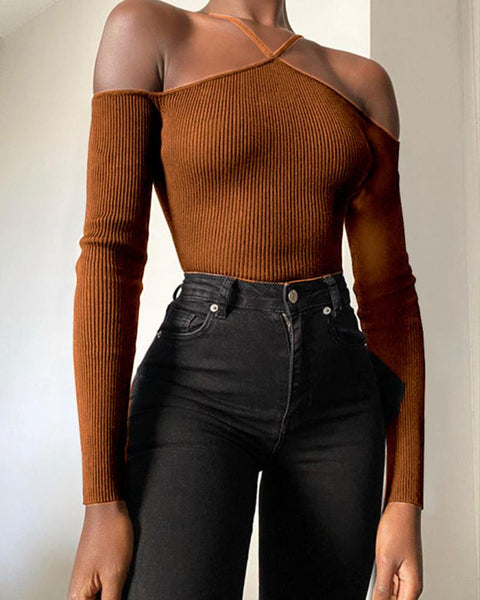 Solid Cold Shoulder Long Sleeve Skinny Knitted Blouse