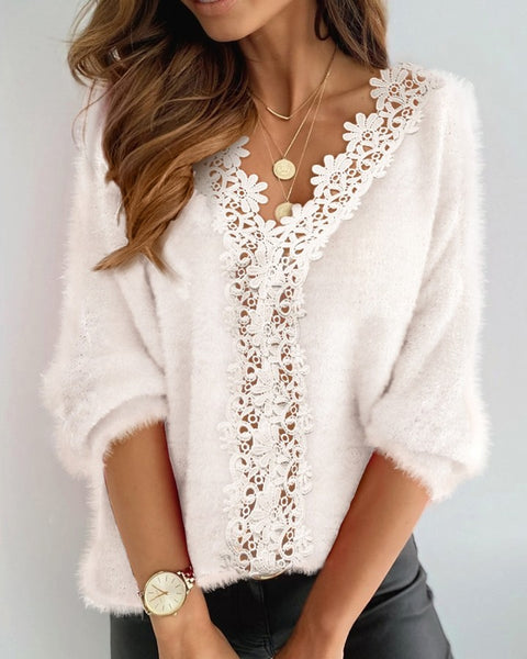 Long Sleeve Fluffy Lace Trim Sweater
