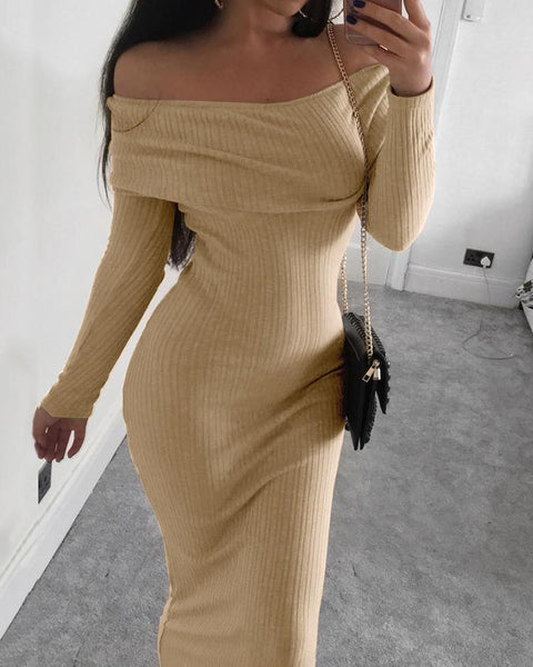 Ribbed Slit Long Sleeve Knit Maxi Dress