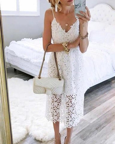 Spaghetti Strap Midi Lace Dress