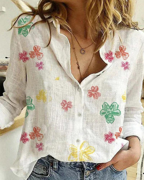 Long Sleeve Button Front Blouse