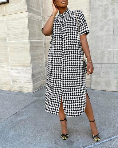 Houndstooth A-line Shirt Tunic