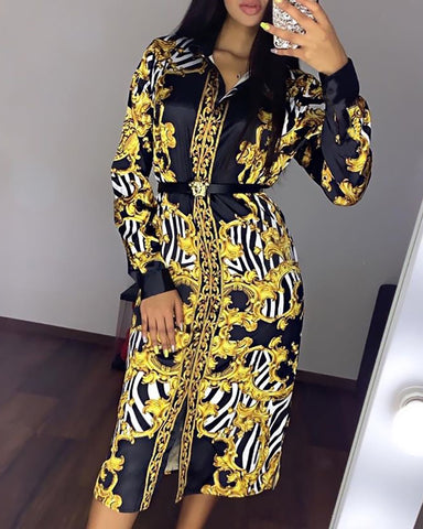 Turn-down Collar Retro Print Long Sleeve Shirt Dress