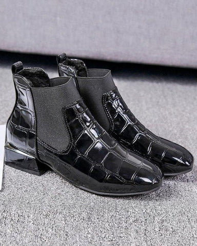 Leatherette Reflective Block Heel Boots