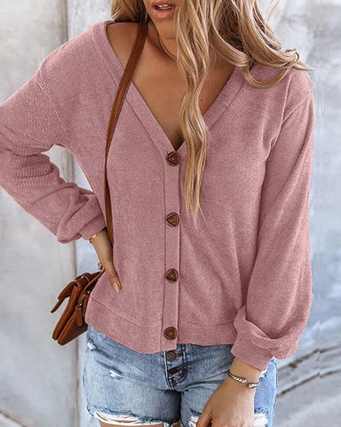 Button Design Solid Long Sleeve Sweater
