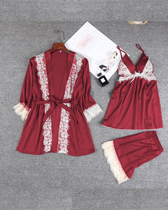 Solid Lace Trim 3Pcs Pajama Set