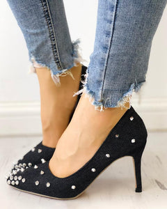 Rivets Embellished Pointed Toe Denim Thin Heels