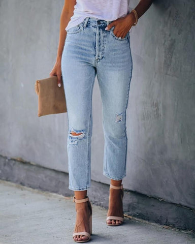 Solid Washing Effect Straight Denim Pants