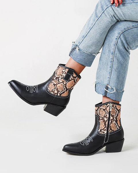 Color Block Round-toe Western Boots