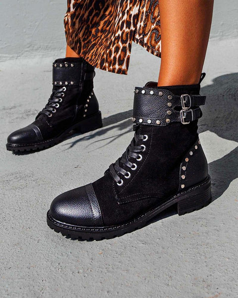 Solid Round-toe One Buckle Lace Up Boots