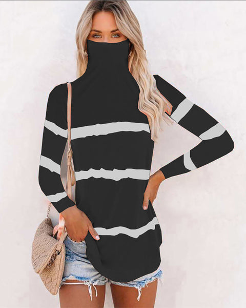 Striped Earloop Long Sleeve T-shirt