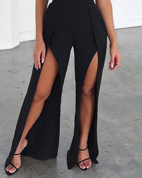Bandeau Slit Leg Sleeveless Jumpsuit