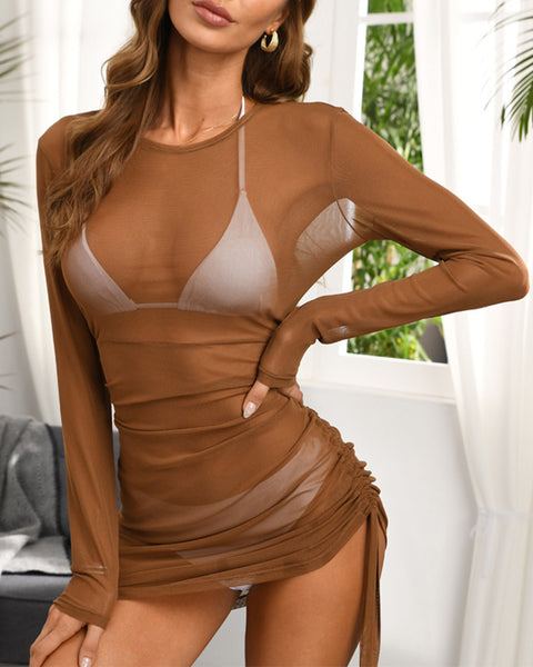 Solid Glitter Long Sleeve Loose Ruched Cover-up Mini Dress