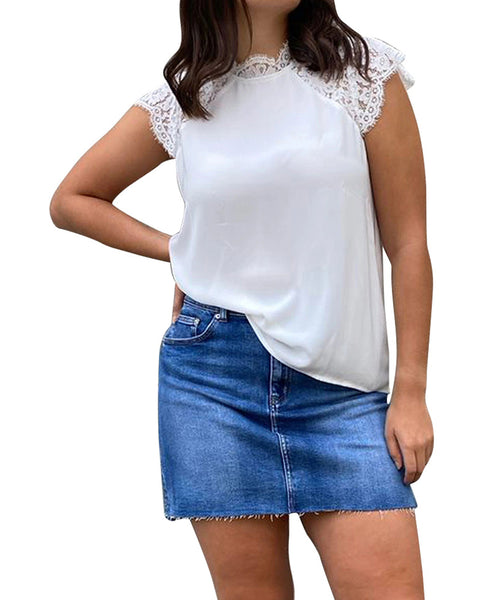 Lace Contrast Short Sleeve Loose T-shirts