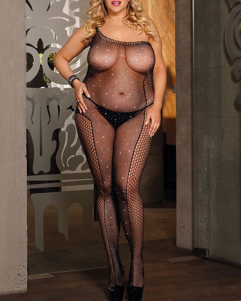 Hollow-out Mesh Lace Open Crotch Bodystockings